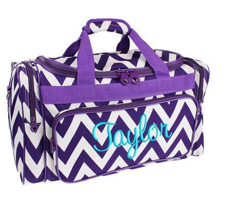 Personalized Duffle Bag Purple Chevron