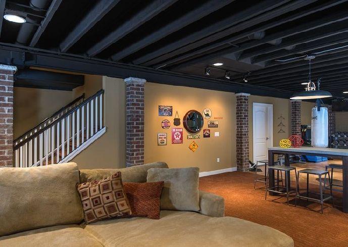 Unfinished Basement Flooring Ideas With Warm Lighting Large Sofa
