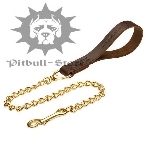 Dog Lead Bull Terrier Silver Chain Lead Leather Handle