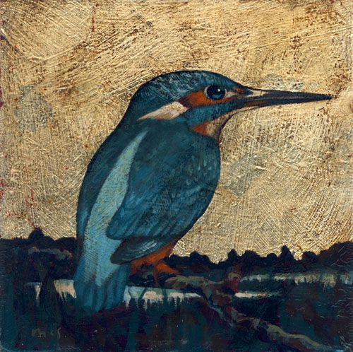 """Kingfisher. Arcylics with gilding on panel 7"""" x 7"""". From an illustration by Peter Hayman."""