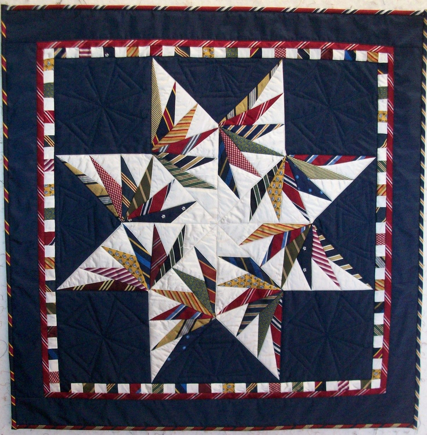 Custom Necktie Quilt Wallhanging Made from your Ties Neckties 32 ... : necktie quilt patterns - Adamdwight.com