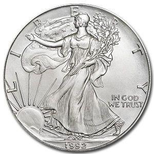 1992 1 Oz Silver American Eagle Coin American Silver Eagle Silver Bullion Coins Silver Bullion