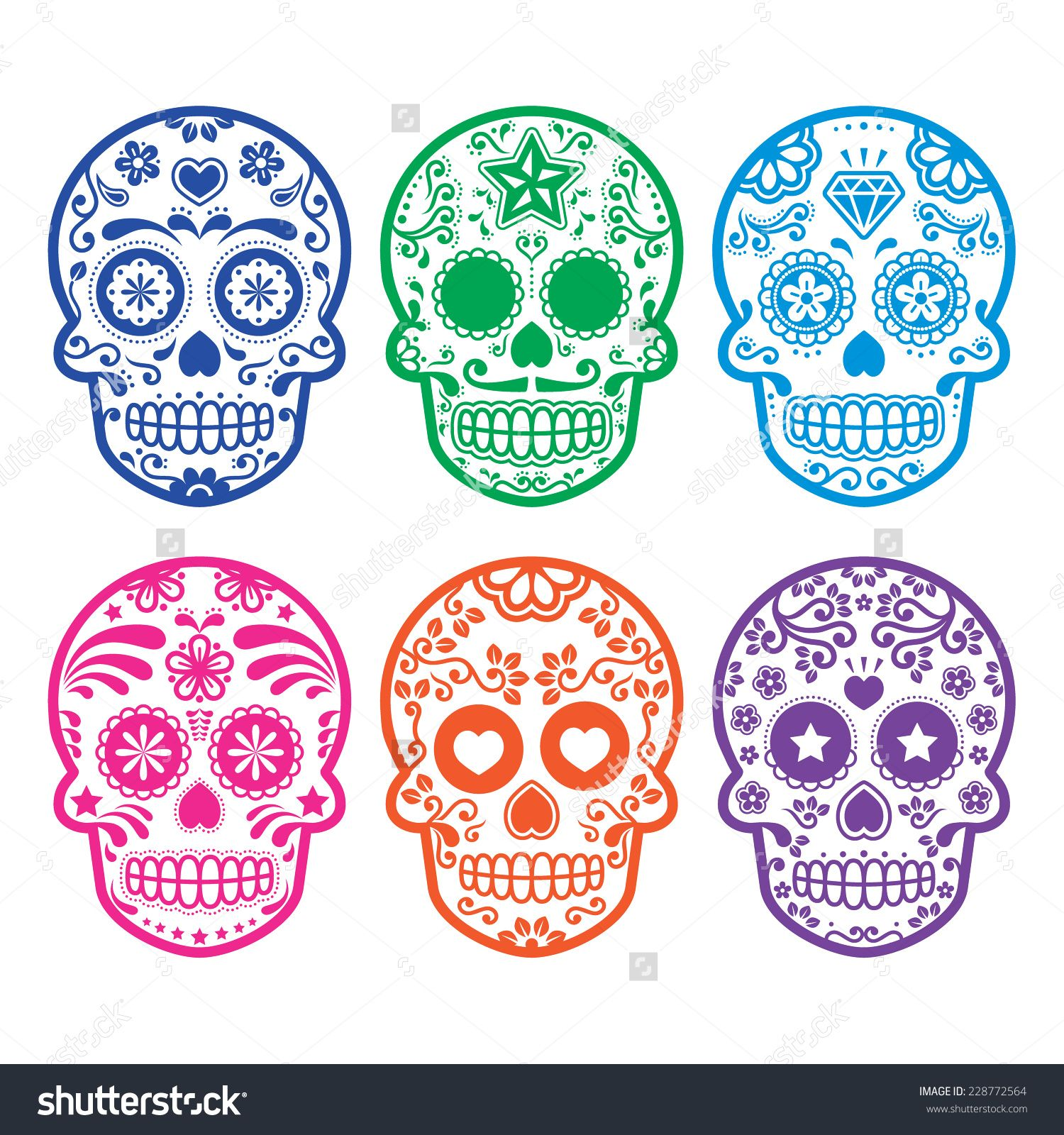 Mexican Sugar Skull, Dia De Los Muertos Icons Set Stock Vector Illustration 228772564 : Shutterstock