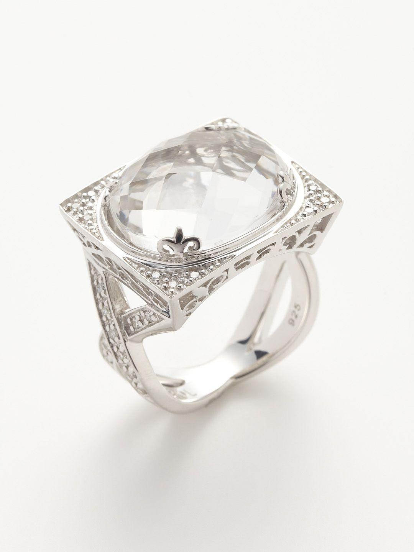 Clear Quartz & Diamond Rectangle Ring by Charriol | Jewelry ...