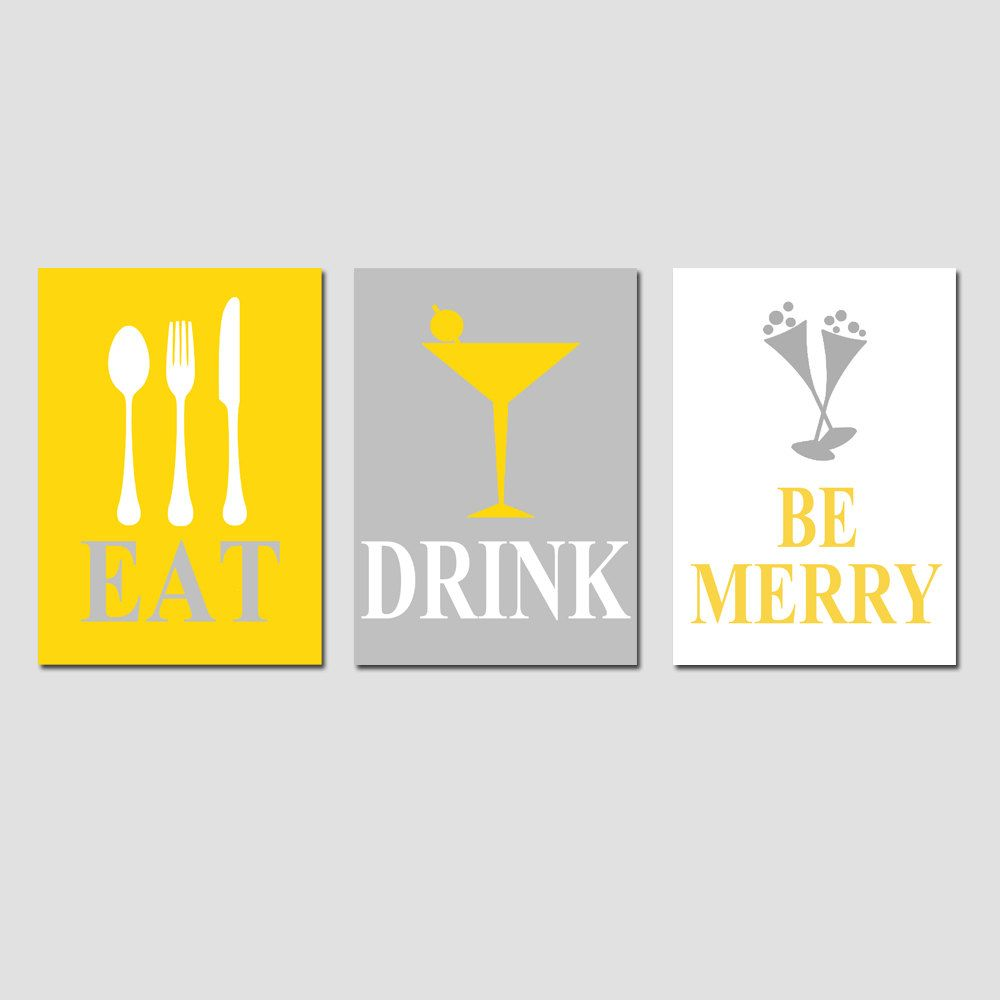Eat, Drink and Be Merry - Set of Three Coordinating 5 x 7 Prints - Gray, White, and Mustard Yellow. $45.00, via Etsy.