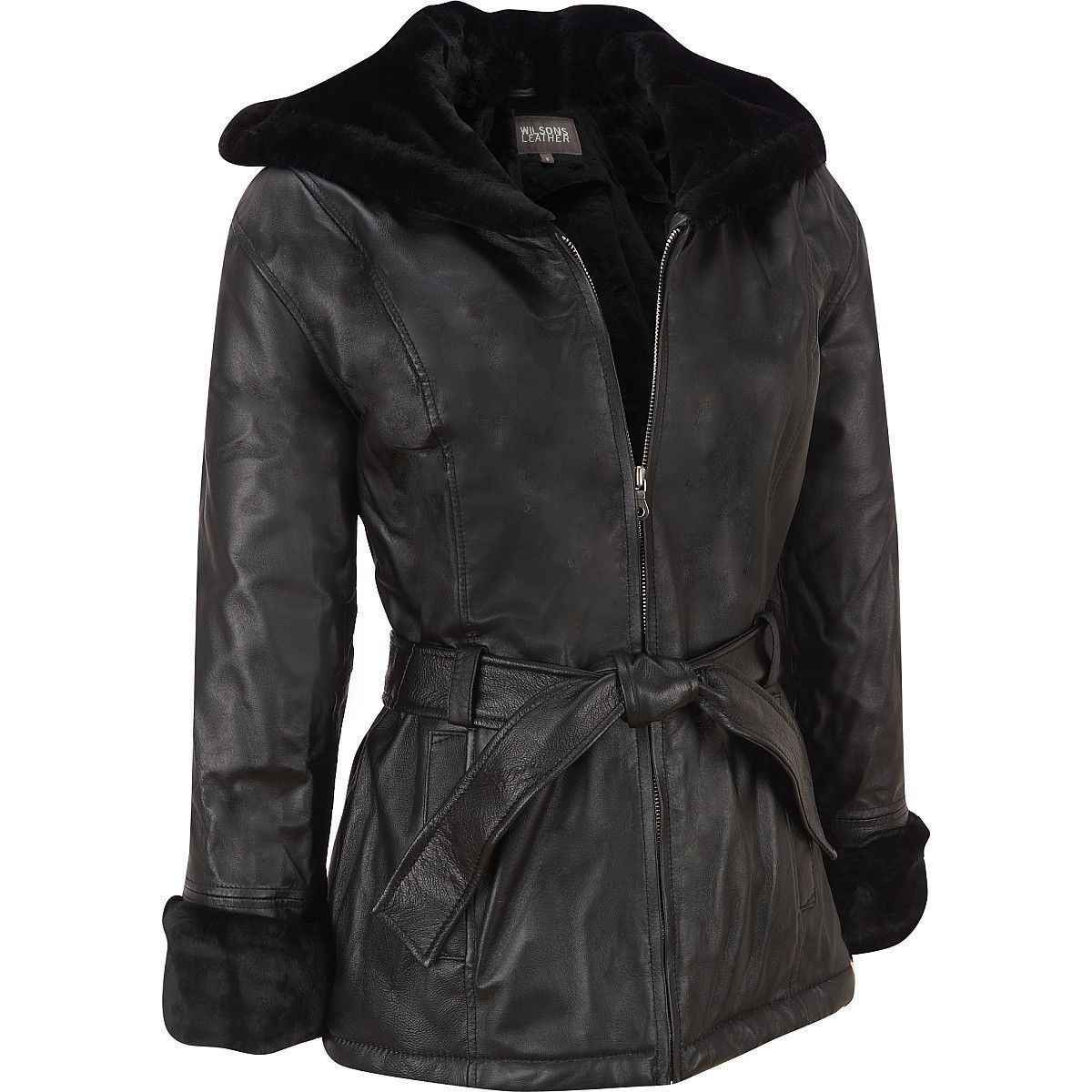 689f08ca33ba7 Women s Plus Size Wilsons Ultimate Hooded Faux-Shearling Leather Jacket