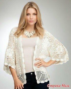 crochelinhasagulhas: chaqueta blanca con cuadrados de ganchillo