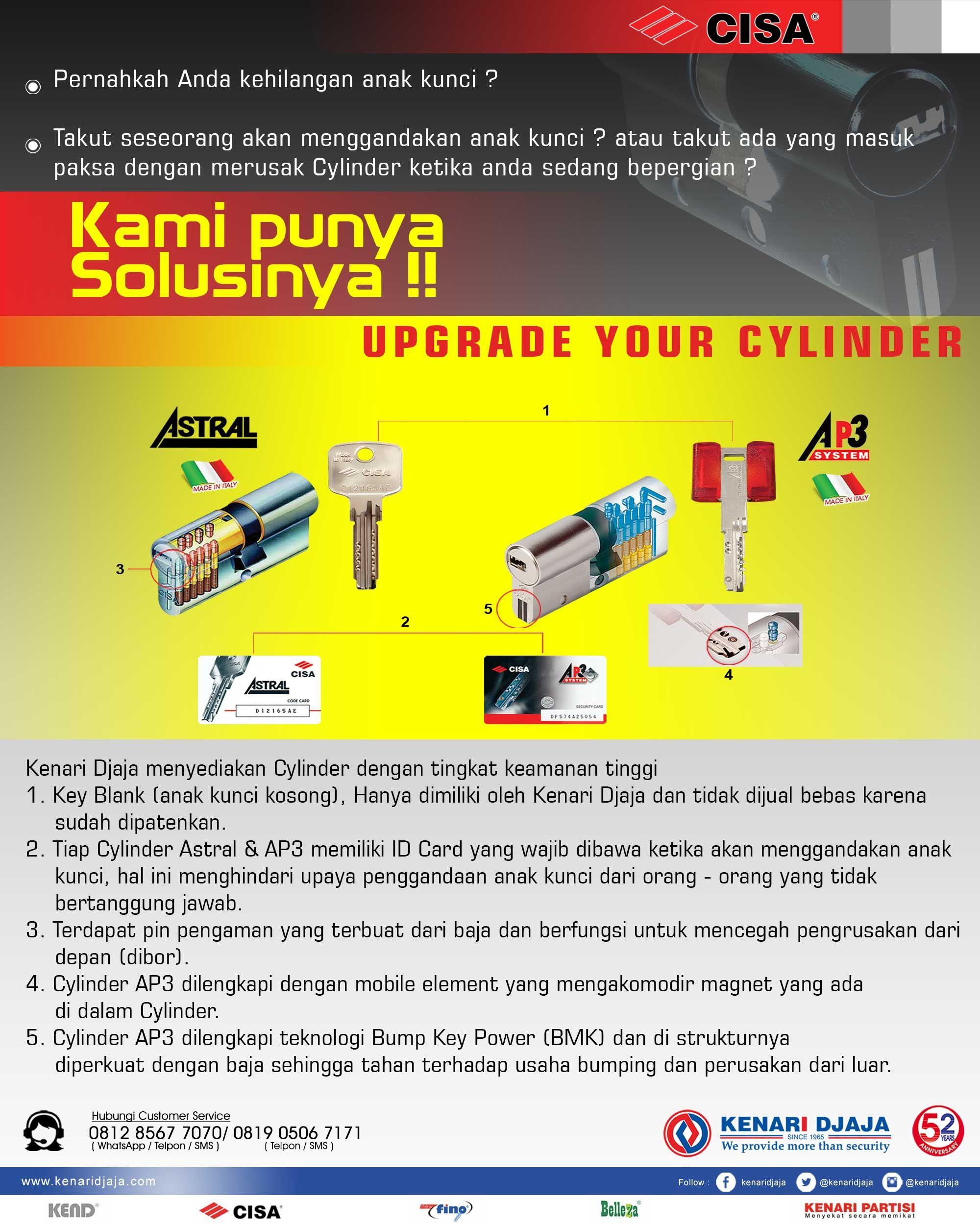 Pemilihan Cylinder Yang Tepat Sangat Penting Untuk Keamanan Rumah Anda ... Dapatkan Cylinder Yang Tingkat Keamanannya Tinggi Hanya di Kenari Djaja .. Segera Kunjungi Showroom Terdekat Kenari Djaja  Informasi Hub. : Ibu Tika 0812 8567 7070 ( WA / Telpon / SMS / Telegram ) 0819 0506 7171 ( Telpon / SMS )  Email : digitalmarketing@kenaridjaja.co.id  [ K E N A R I D J A J A ] PELOPOR PERLENGKAPAN PINTU DAN JENDELA SEJAK TAHUN 1965