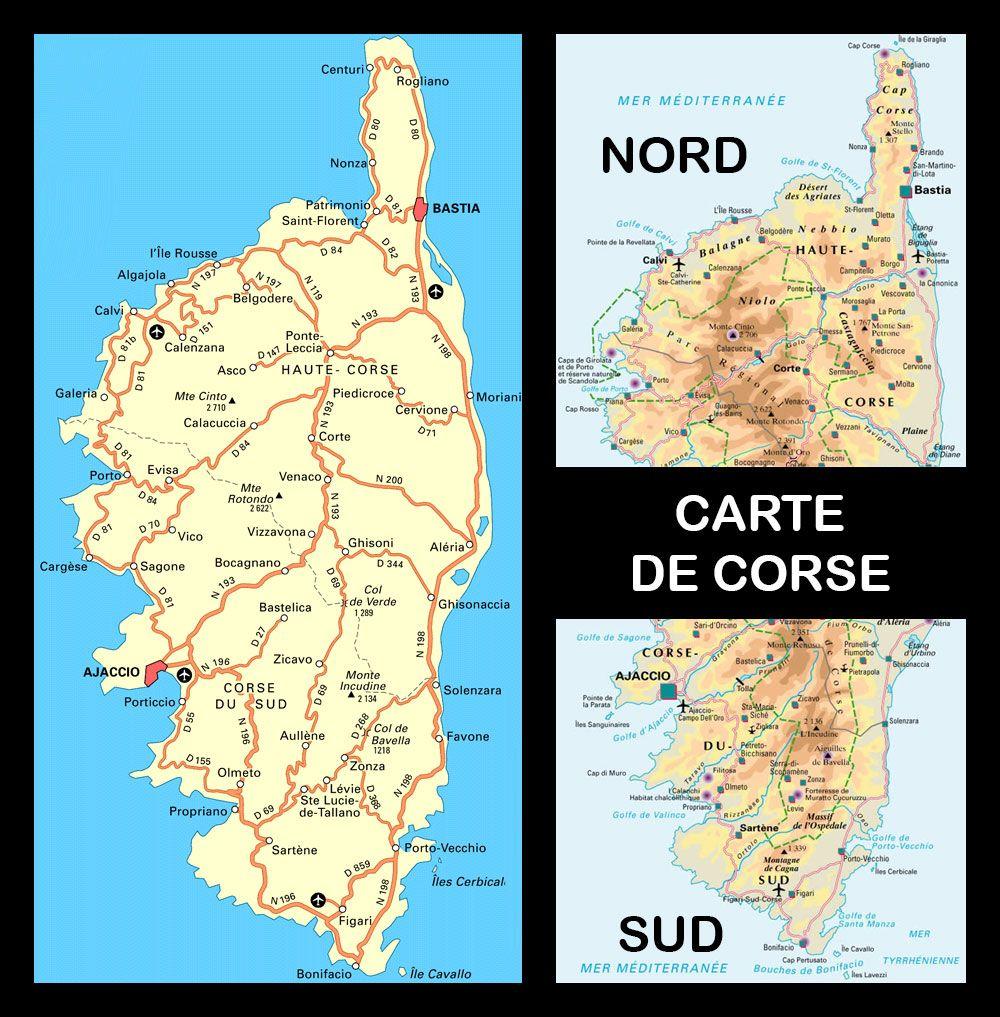 Carte de Corse Touristique | Corse carte, Corse, Touriste