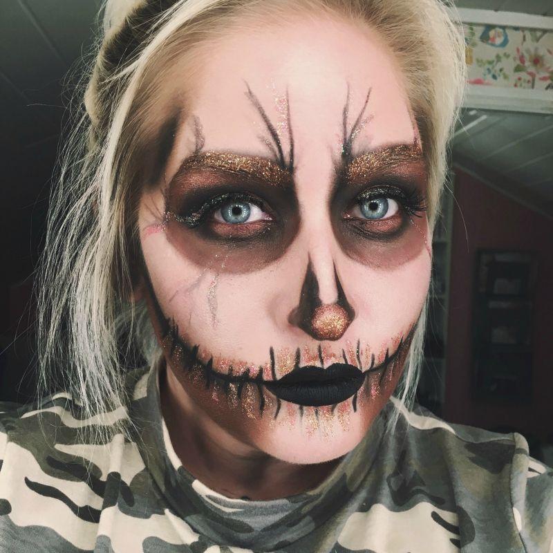 backstagebeauty - skull makeup, halloween makeup, glitter, messy and copper skull.