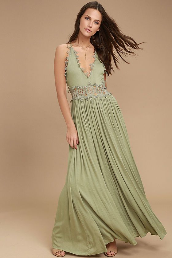 7fbc3298c520 There's no doubt that the This is Love Sage Green Lace Maxi Dress is a true  stunner! From adjustable spaghetti straps, gauzy rayon falls to a plunging  ...
