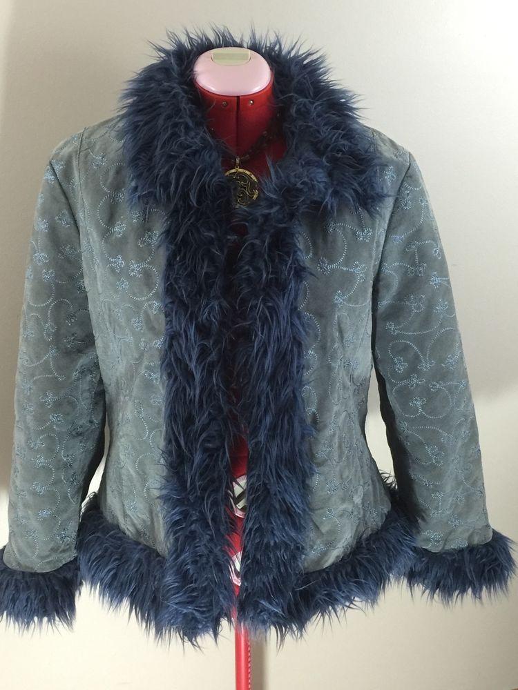 Wilsons Leather Maxima Jacket 100% Leather Blue Faux Fur Floral Stitch CoatXXL #WilsonsLeather #BasicCoat