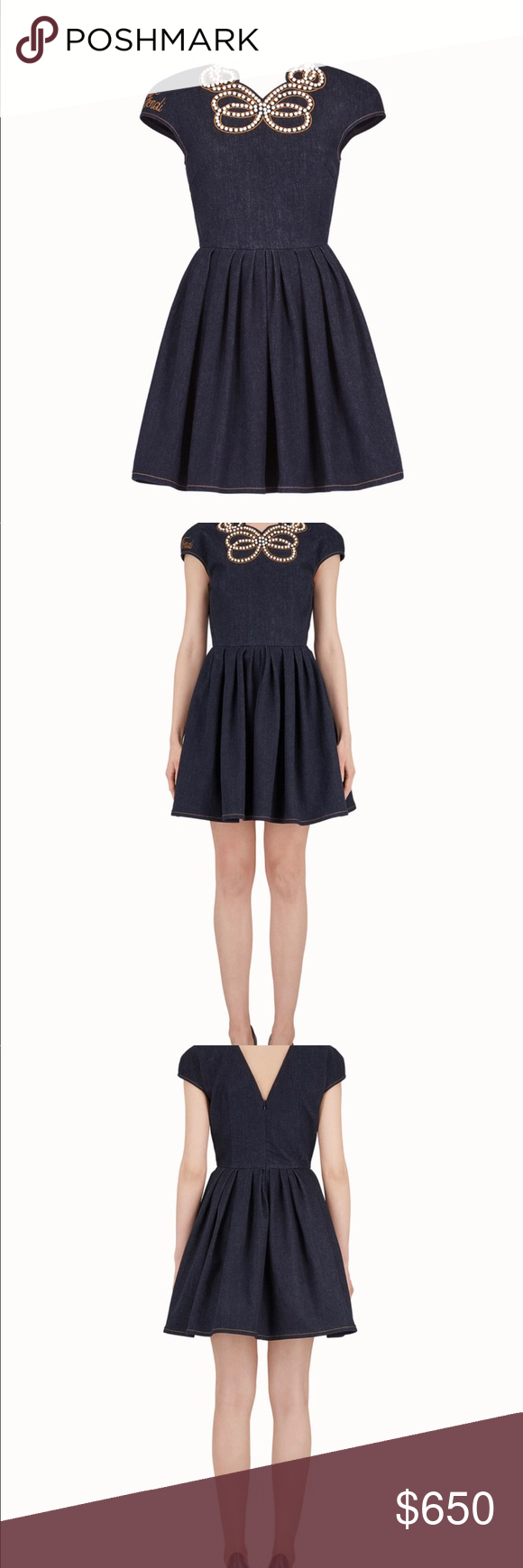 646865b53b0 Fendi Denim Pearl Bow Dress Italian Size38  Us 2 Fendi s dark blue stretch-cotton  denim cap-sleeve dress is tailored with a full