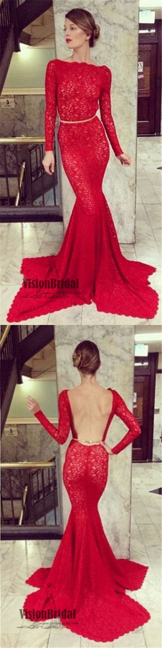 Red long sleeves lace mermaid prom dress open back prom dress with