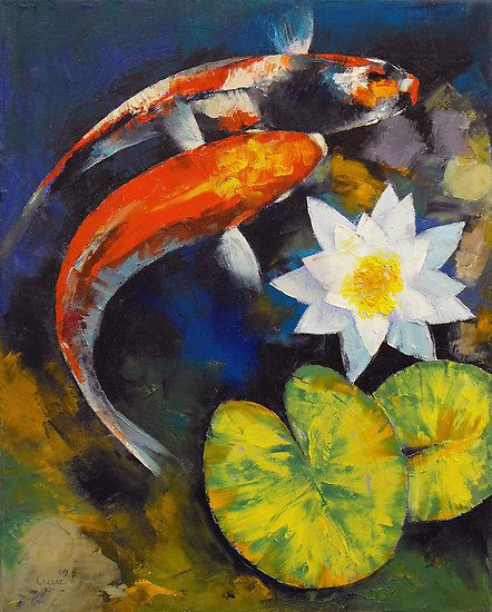 Koi fish and water lily paint strokes pinterest for Michael koi pond