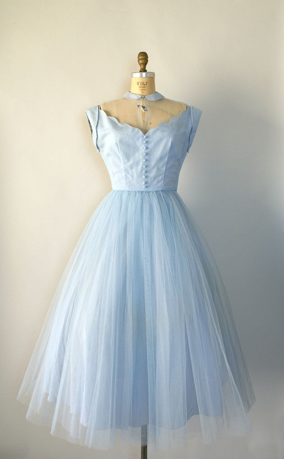 Vintage 1950s Formal Gown - Pale Blue Tulle Party Dress - Dancing on ...