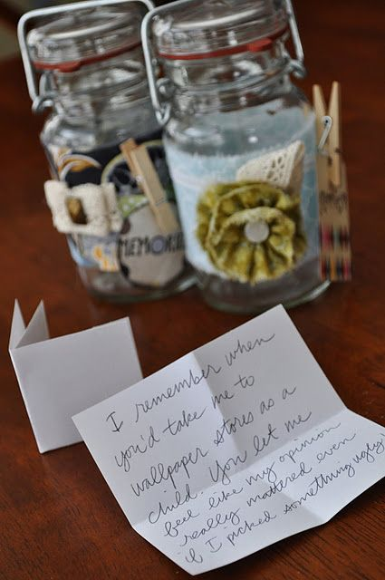 sentimental christmas present doll up a jar and fill it memories of someone special then give it to them
