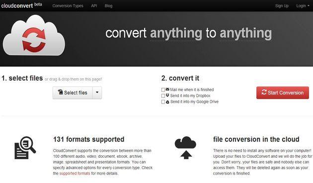 CloudConvert, convierte online entre más de 130 formatos
