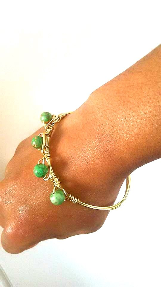 ASIA wire bangle pink and green beads www.icedropzaccessories.com