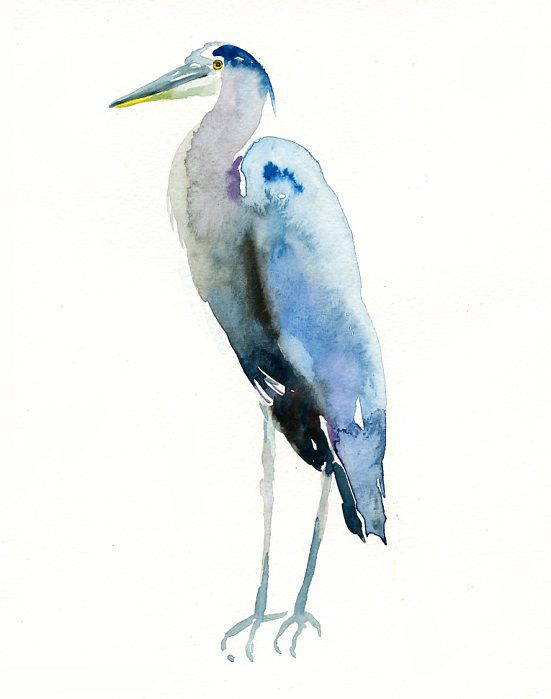 Great Blue Heron Original Watercolor Painting 8x10inch Vertical