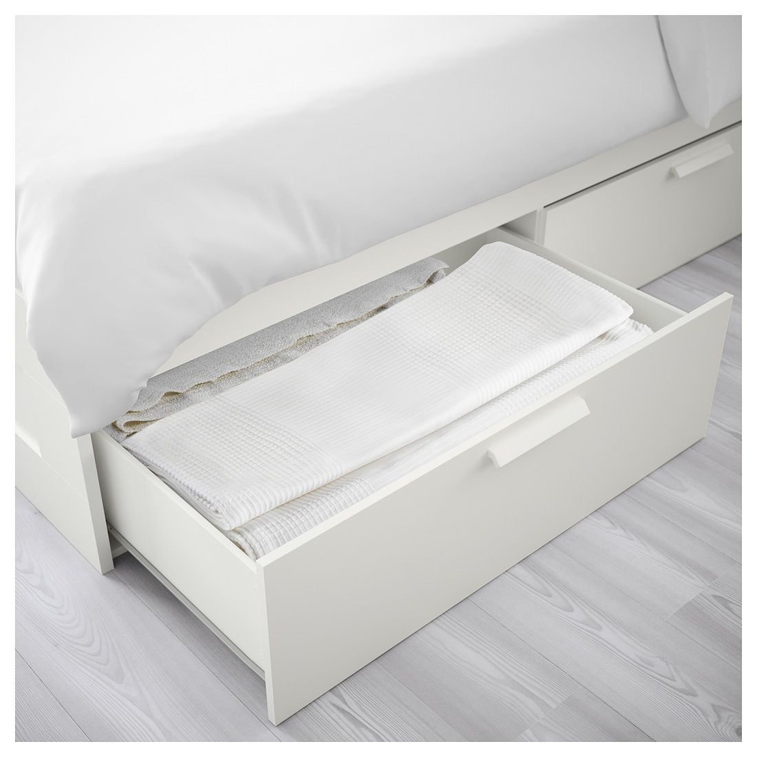 Brimnes Bed Frame With Storage White Luroy Queen Ikea In 2020 Bed Frame With Storage Bed Frame Adjustable Beds