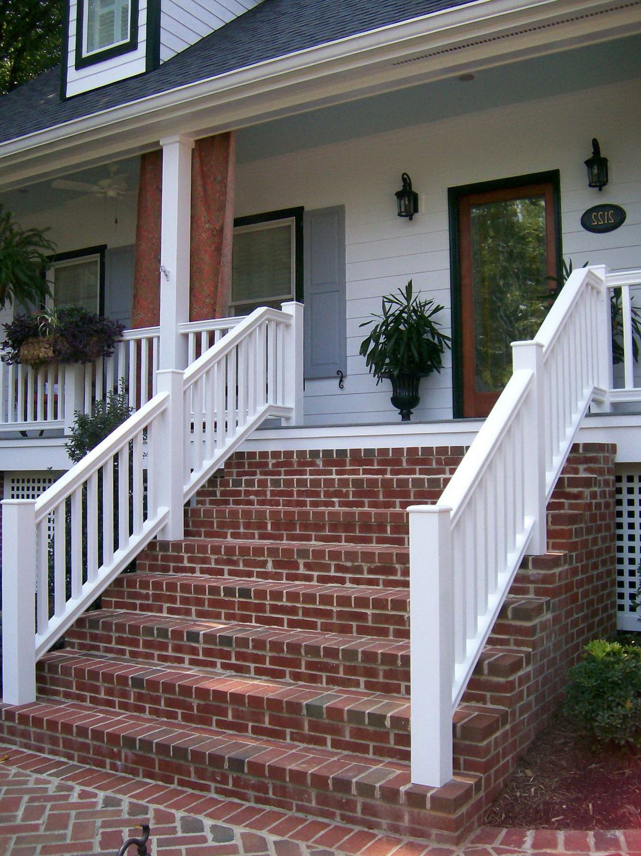 Brick front porch steps ideas for the house pinterest for Brick porch designs for houses