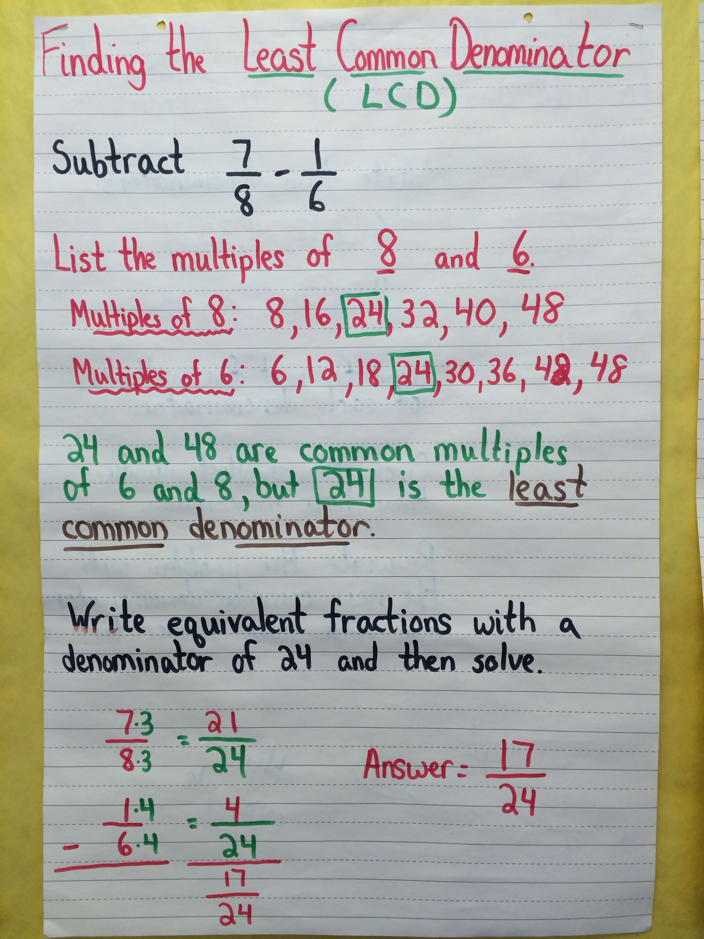 Finding The Least Common Denominator Math Charts Math Lessons