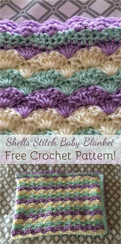 Shells Stitch Baby Blanket Free Crochet Pattern Afghan