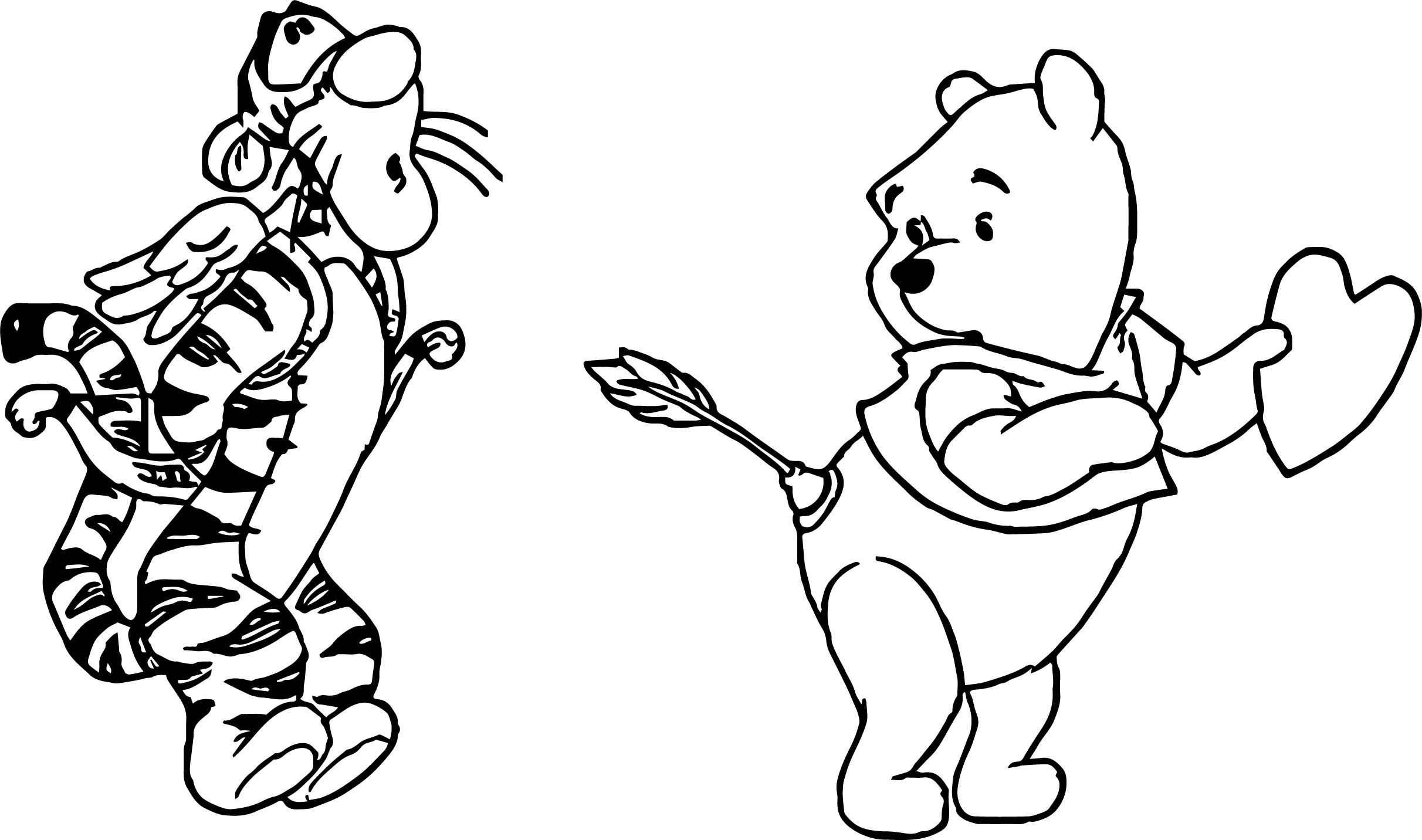 Cool Pooh Tigger Cupid Wrong Target Arrow Coloring Page Coloring