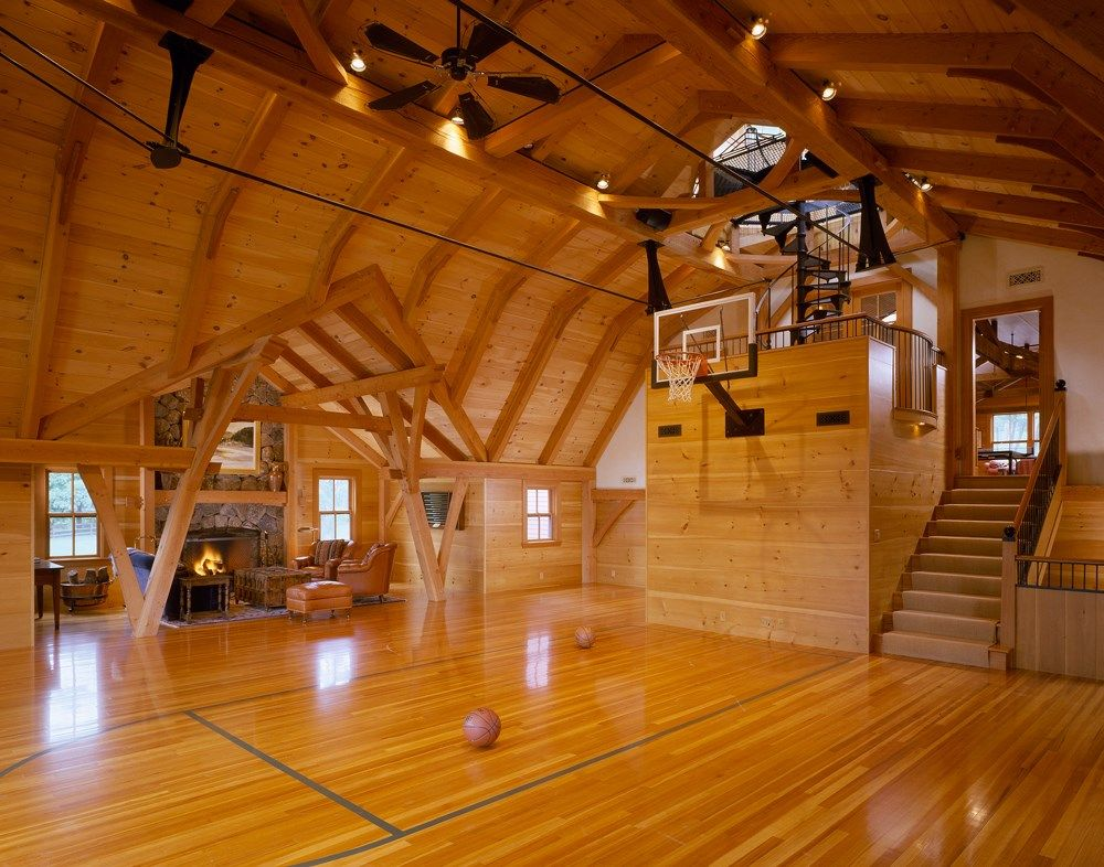Antique barn turned indoor basketball court bensonwood for Build indoor basketball court