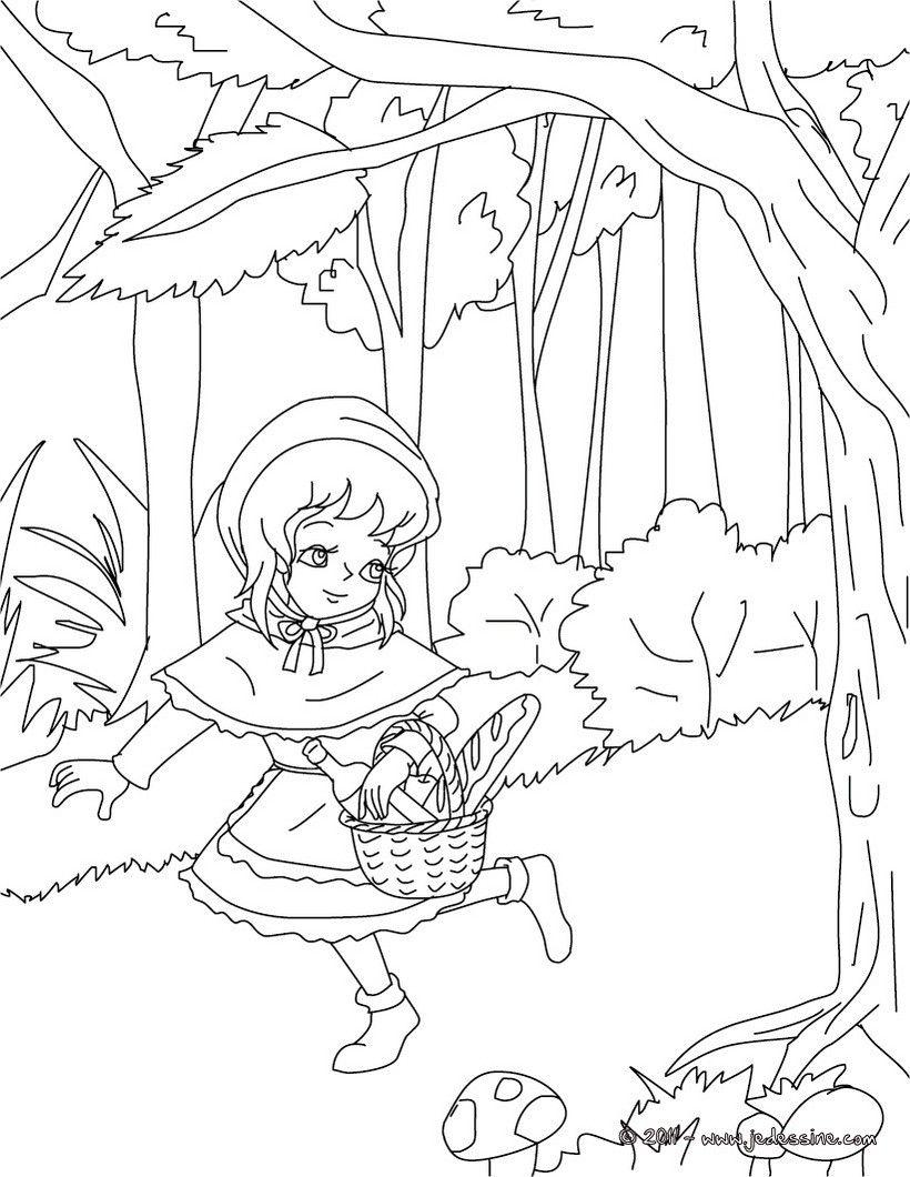 Les contes de perrault colorier coloriage petit chaperon rouge coloriage pinterest - Coloriage de conte ...