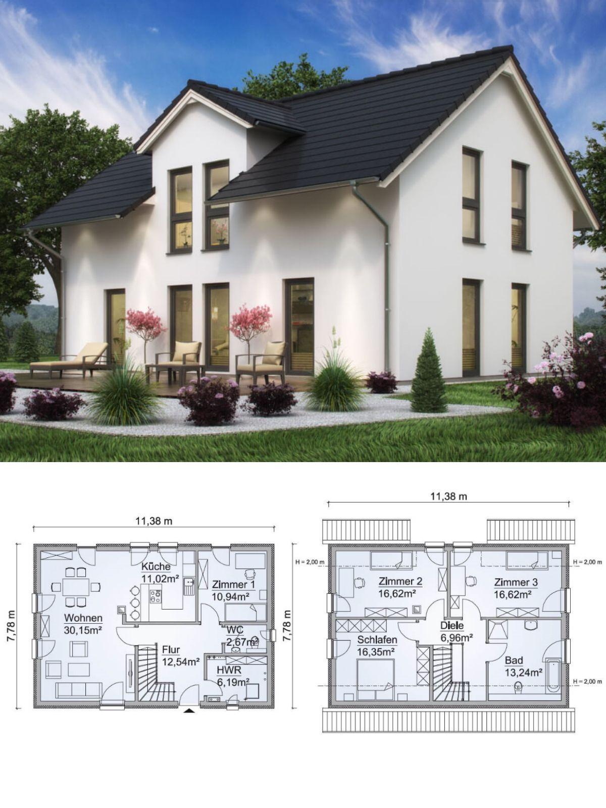 Einfamilienhaus Architektur modern mit Satteldach, Zwerchgiebel ...