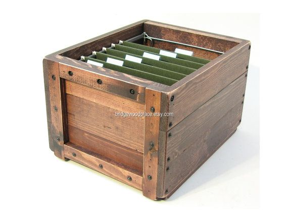 Wooden File Crate Wood Filing Box Office File Storage