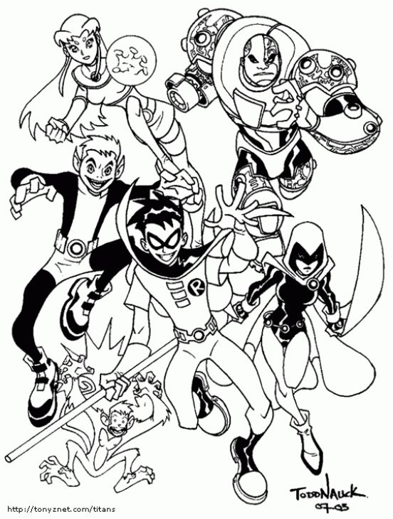 Free Teen Titans Printable Coloring Page Superheroes Coloring
