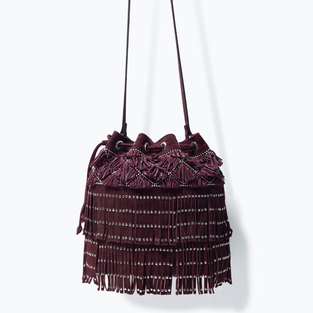 Femme Bags Zara Sac En Franges Coulissé Et 6ybfgiyv7 Cuir Clouswomen À 0wX8nOPk