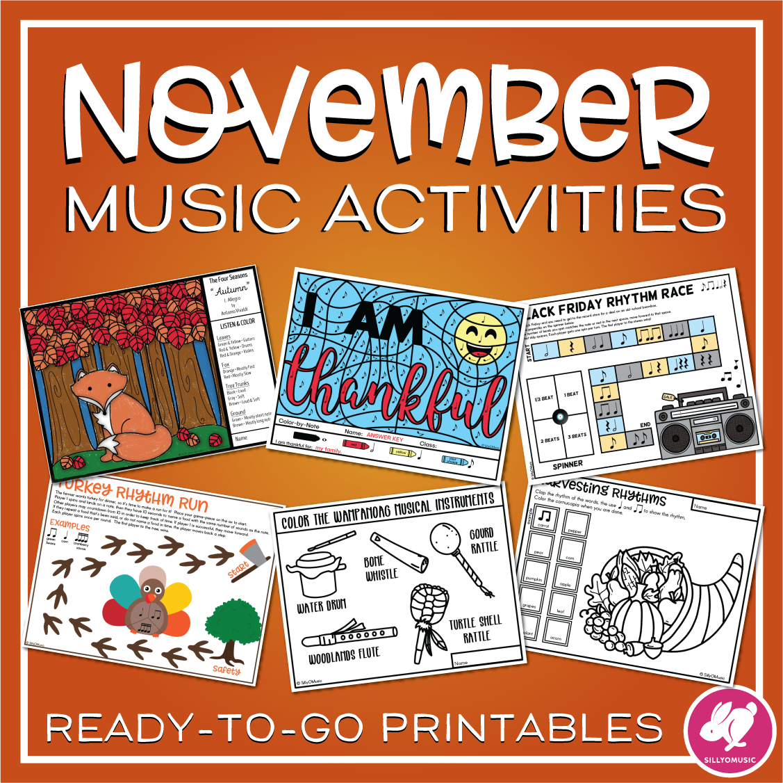 Thanksgiving Amp Fall Music Activities Worksheets Amp Color