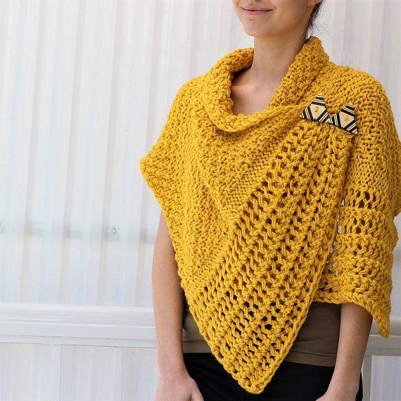 Easy Knitting pattern, Beginner Wrap PDF, Patron tricot, Corali ...