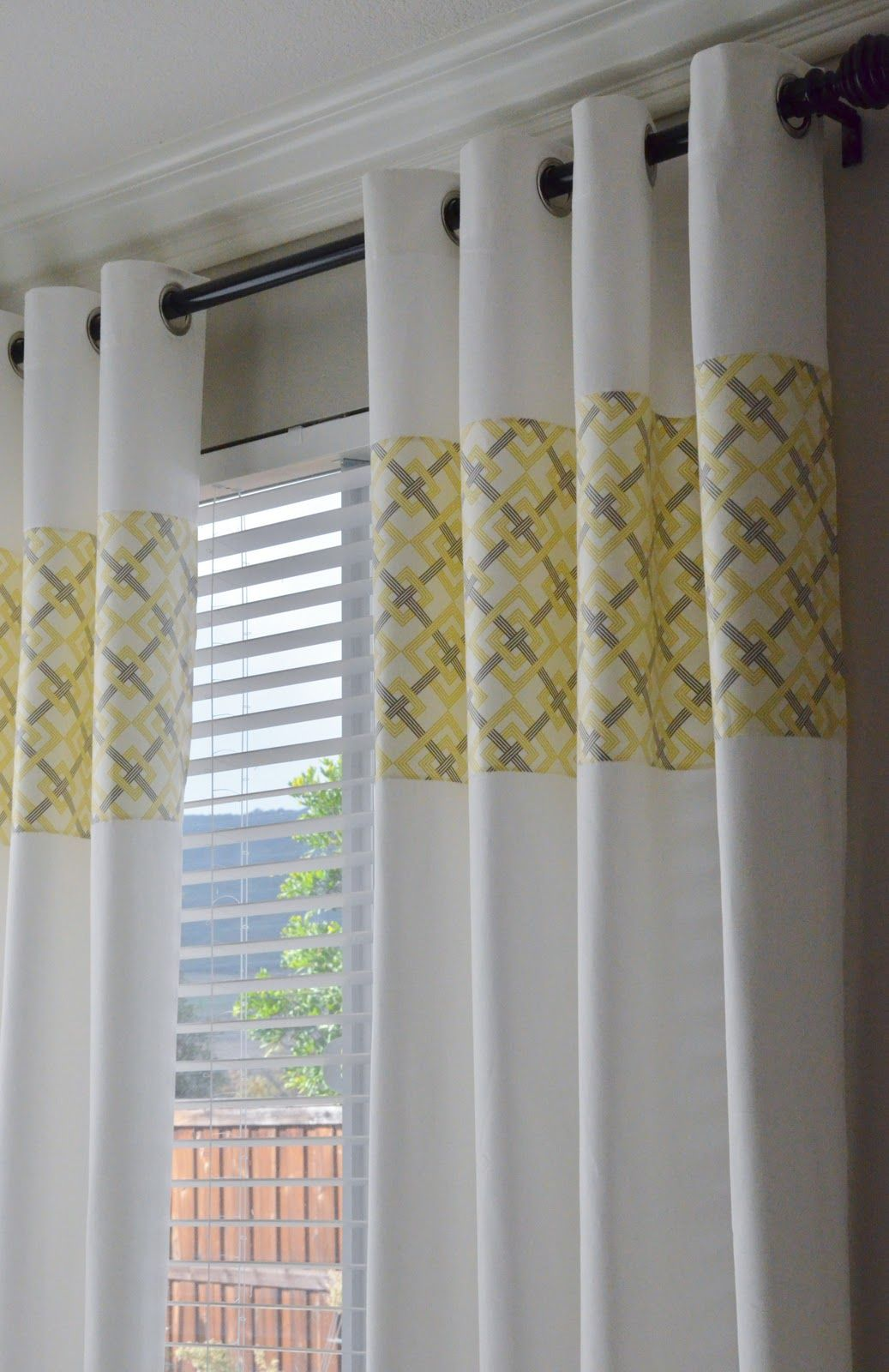 Lovely White Based Curtain With Gray And Yellow Handprinting For Window Treatment.  The Brightness Of Yellow And Gray Curtains For Your Home. Codecoration  Fabulous ...