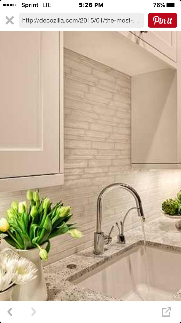 White Textured Subway Tile Backsplash House Kitchen Design In