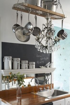 Ditch the chandelier, keep the hanging pot rack!