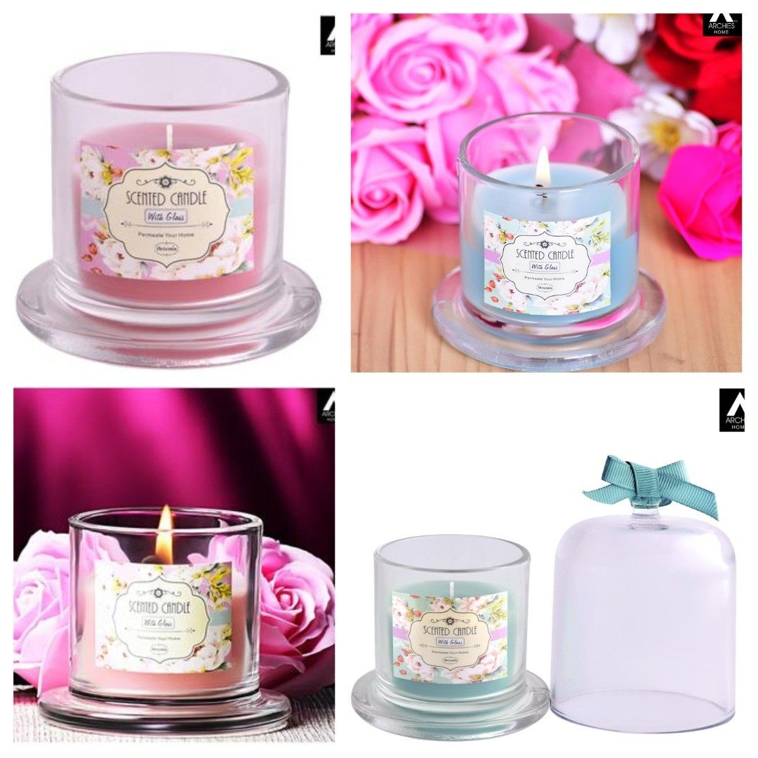 Real Wax Scented Candles In Glass Round Square Small Box With Lid شمع معطر بالشمع الحقيقي في علبة صغيرة مربعة ومست Candle Holders Candles Decor