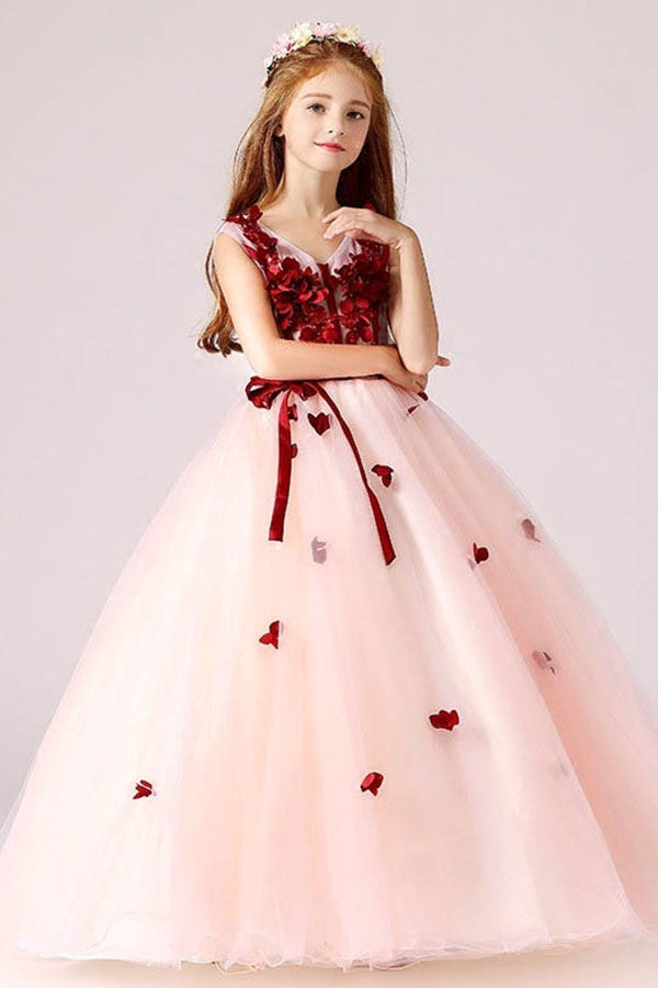 Ball Gown Sleeveless V Neck Flower Girl Dress With Appliques Prom Girl Dresses Girls Ball Gown Kids Party Wear Dresses