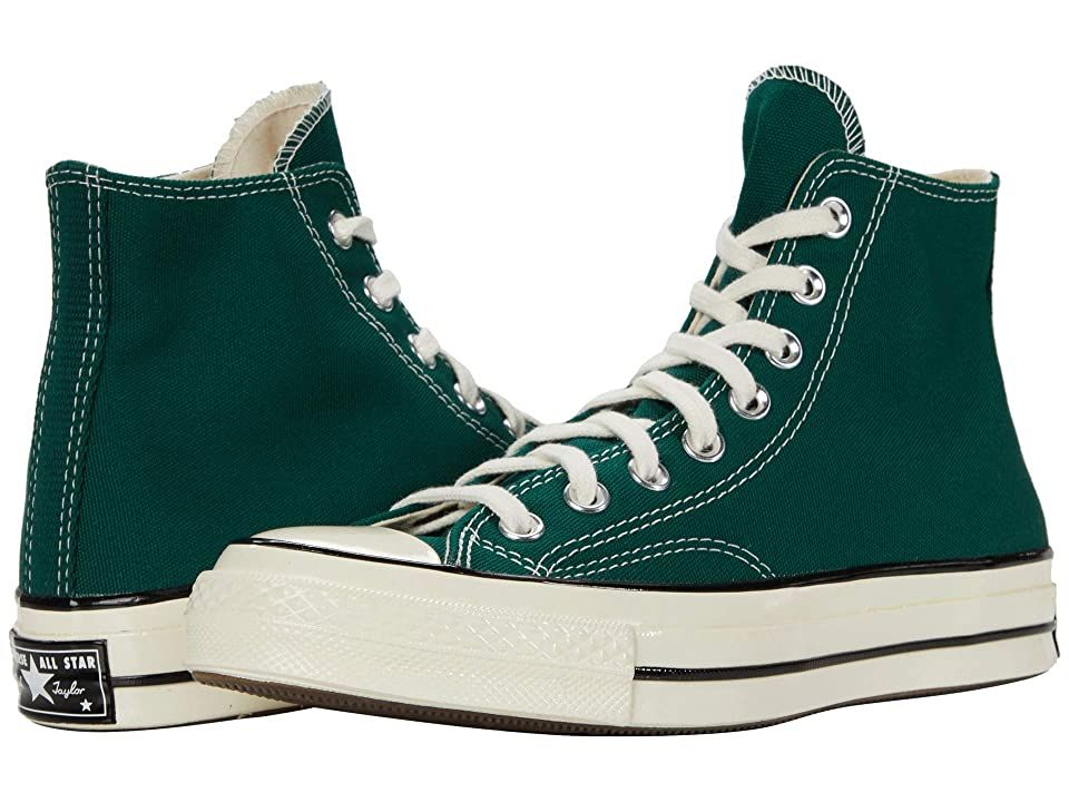 Converse Chuck 70 Organic Canvas Hi - Athletic Shoes : Midnight Clover/Egret/Black : The primary materials that compose this product contain a minimum of 20 percent organic content. A visual update on the original basketball shoes, the Converse Chuck 70 Organic Canvas Hi sneakers add retro vibes and styling to your daily look. Please select 1/2 size down from your normal size (if you wear Men's size 9, please choose Men's size 8.5, and if you wear a Women's size 8, please choose Women's 7.5).* H