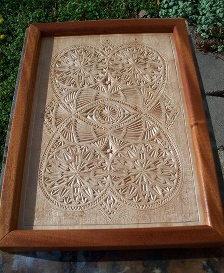 Chip carved serving tray old norwegian pattern groovy