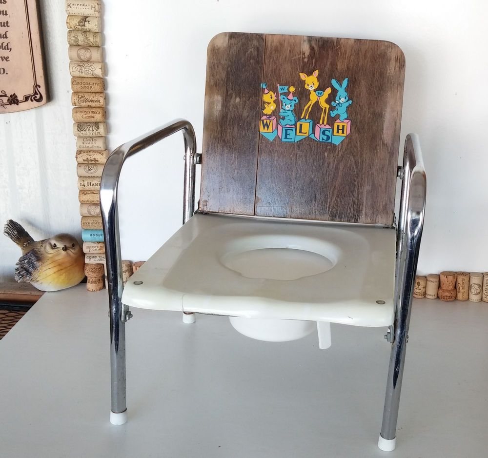 Antique potty chair value -  Vintage Nursery Potty Chair Childs Toilet Wood Metal Cute 50 S Graphic
