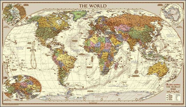 Large Paper World Map.Global Mapping Antique Style Political World Wall Map Large Paper