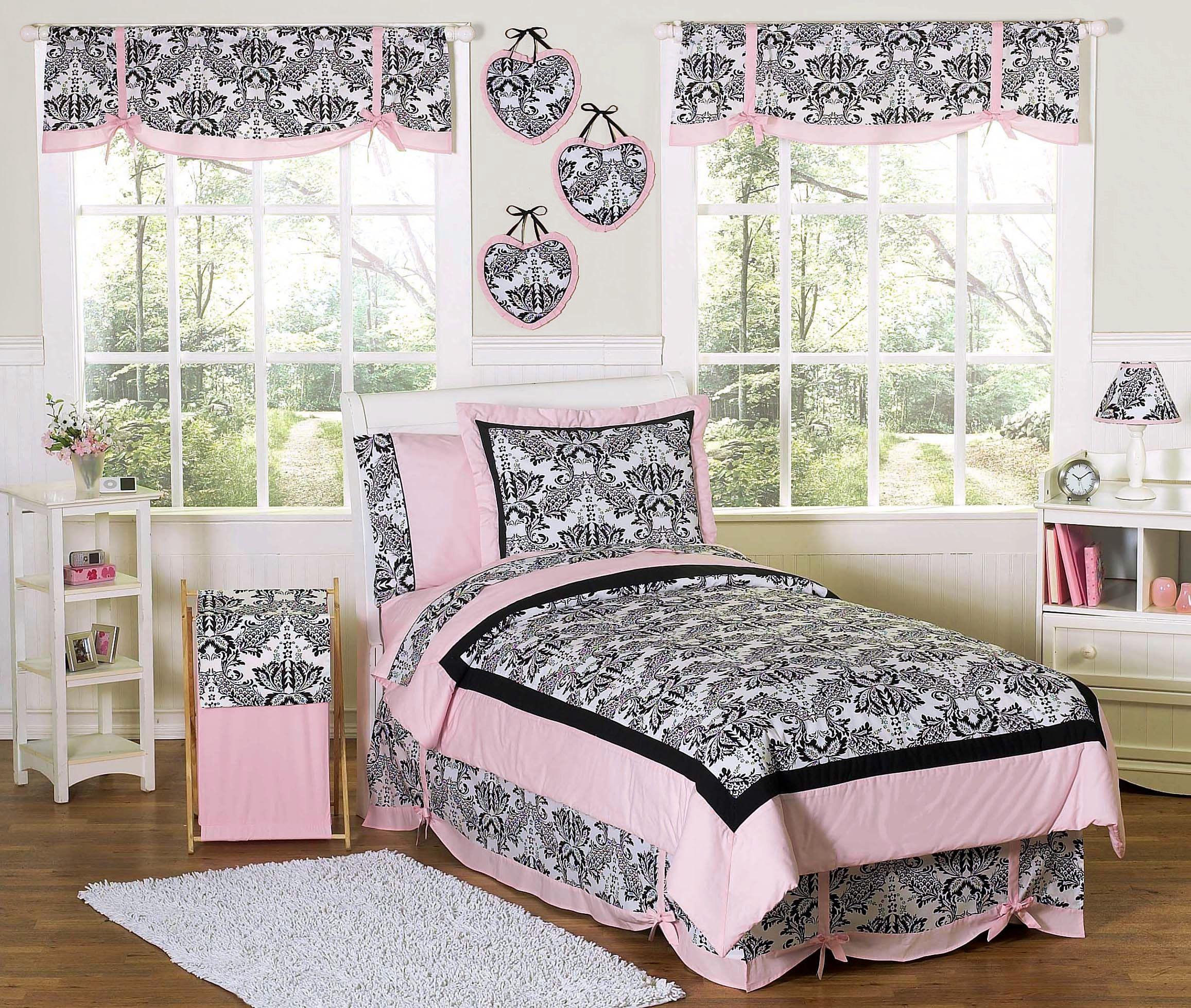 Jojo luxury black white damask girl kids teen full queen sized bedding - Pink Black French Style Bedding Twin Full Queen Comforter Sets For Girls Sophia Teen Beddinggirls Bedding Setsdamask