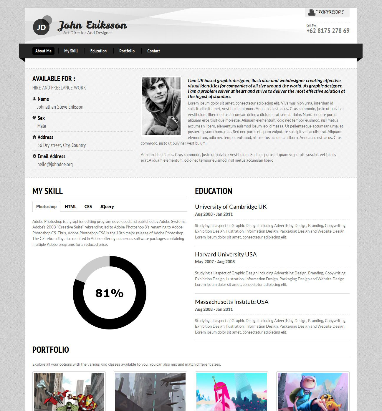 Architecture Design Resumes 7 creative online cv resume template for web, graphic designer