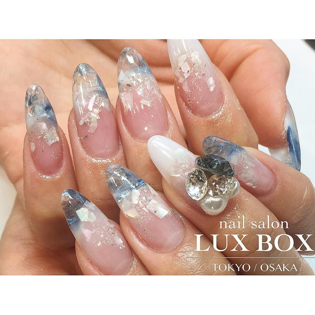 Japanese Gel Nail Art with Mother of Pearl Inlay and Accent | Nail ...