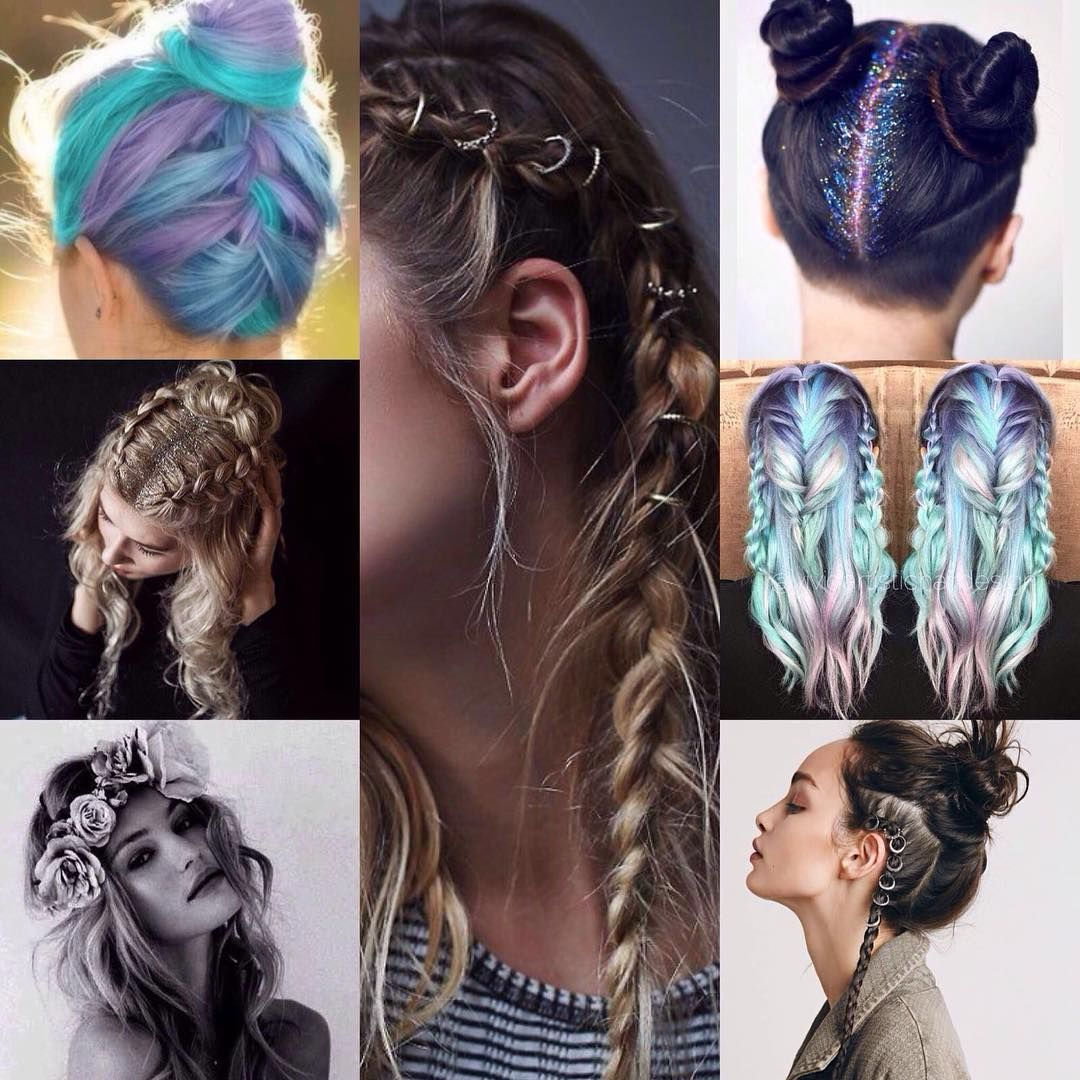 ✨M O O D B O A R D✨ hair Inspo for the shoot next Sunday oh.em.gee. it's coming  #hair #hairinspo #shoot #photoshoot #festival #glitter #braids #hairrings #flowercrowns #follow #instagram #etsy #onlineshop #new #girls